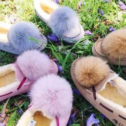防泼水安哥拉兔毛球豆豆鞋《DK209》