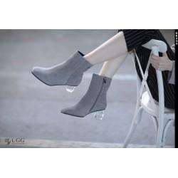 短靴 透明水晶靴跟 防泼水 DK334 DKUGG